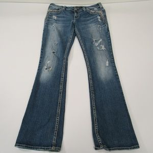 "Silver ""Tuesday Low Boot"" Jeans 30x33 Destroyed"